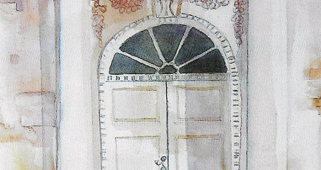 Hammond-Harwood House Front Door, Original Watercolor, Featured for 2015 Secret Garden Tour, Brochure Cover Art