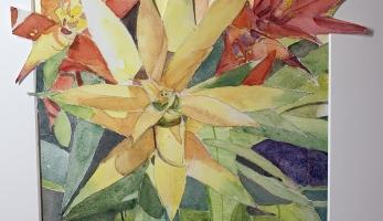 Live on Fire – Bromeliads, Original Watercolor Collage