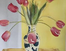 Joanne's Tulips, Original Watercolor