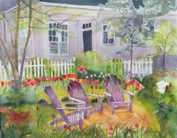 Eastport Garden, Annapolis, Original Watercolor