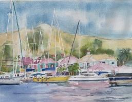 BVI's, Soper's Hole, Tortola, Original Watercolor