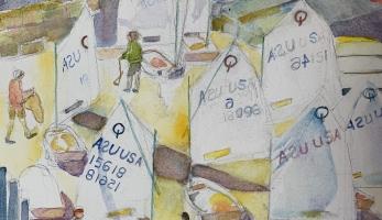 AYC Opti Shoving Off, Original Watercolor