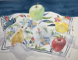 Merry Go Round the Fruit, Original Watercolor