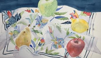Merry Go Round the Fruit, Original Watercolor