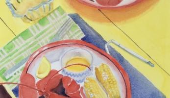 Serving Lobster – Bar Harbor, Maine, Original Watercolor