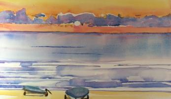 Sunrise – Lake Huron, Michigan, Original Watercolor