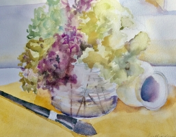 Hydrangeas in the Studio, Original Watercolor